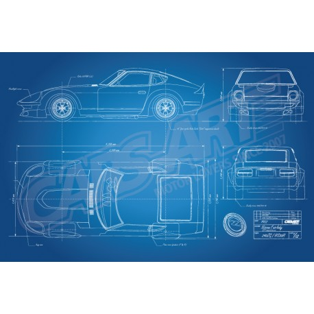 Poster Nissan Fairlady 240ZG HS30H race car blueprint - Cars-Art ...