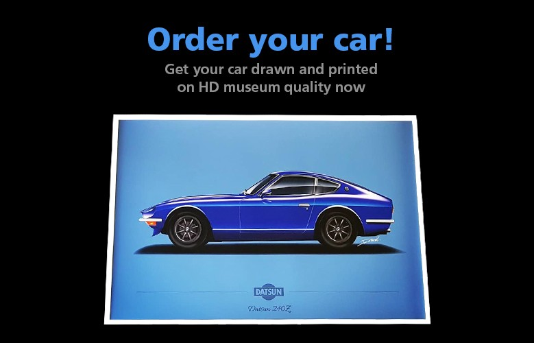 Get your own car drawn and printed in HD museum quality now
