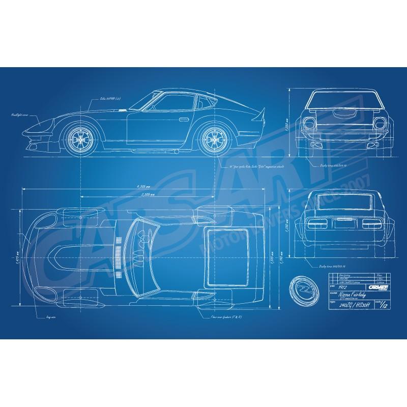 Poster Nissan Fairlady 240ZG HS30H race car blueprint - Cars