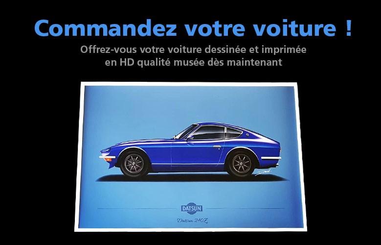 Offrez-vous votre voiture dessinée et imprimée en HD qualité musée dès maintenant